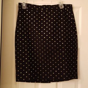 J.Crew Black Pencil Skirt with Gold Dots